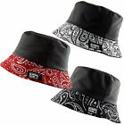 Unisex Bucket Boonie Bush Hat Bandana Paisley Print Fleece Lined Water Resistant
