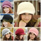 Nice Womens Winter/Fall Warm Rabbit Fur Double Sides Knit Hat Peaked Cap