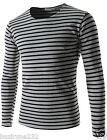 (CAL20) Mens Slim Fit Round Neck Stripe Pattern Basic Cotton Long Sleeve Tshirts