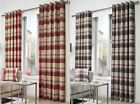 Tartan Check Eyelet Lined Curtains, Feels Like Wool, Ringtop Ready Made