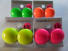 UV NEON BUTTON DOME STUD EARRING Hot Pink Green Orange Yellow 2cm NEW gift pouch