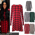 New Ladies Womens Celeb Inspired Tartan Swing Shape Long Sleeve Ladies Dress Top