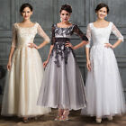 WINTER 3/4 Sleeve Applique Lace Evening Bridesmaid Mother of Bride Wedding Dress