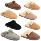 Ladies Womens Faux Fur Lined Warm Winter Comfy Hard Sole Slippers Mule Shoes