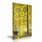 BANKSY - YELLOW LINES Graffiti Framed Printed Wall Art Canvas Box ~ Many Sizes
