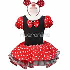 Xmas Halloween Minnie Mouse Baby Toddler Girl Party Costume Tutu Dress Up + Ears