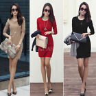 New Womens Long Sleeve Stretch Bodycon Ladies Plain Short Mini Dress Size 8-14