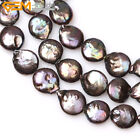 GEM-inside 14mm Coin Freshwater Pearl Stone Beads Strand For Jewelry Making 15""
