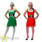 LADIES SEXY ELF / SANTA COSTUME CHRISTMAS FANCY DRESS & HAT SANTAS HELPER S-XL