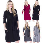 AK50 Ladies Lagenlook Long Layering Quirky Drape Jersey Tunic Dress With Scarf