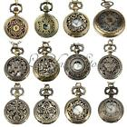 Vintage Steampunk Retro Bronze Design Pocket Watch Quartz Pendant With Chain