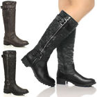 WOMENS LADIES MILITARY BIKER KNEE QUILTED RIDING FUR ZIP CALF BUCKLE BOOTS SIZE