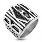 Large New Stainless Steel Dragon Scale BIKER Word Tribal Ring - Sizes 9-15