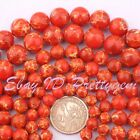 "6-14MM ROUND ORANGE IMPERIAL JASPER GEMSTONE LOOSE BEADS STRAND 15"" PINK SIZE"