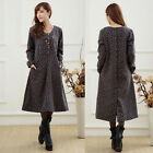 Lady Autumn Winter Thick Warm Long Sleeve Plus Size Loose Shivering Floral Dress
