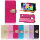 Chic Luxury Bling Crystals Glitter Wallet Flip Leather Case Cover For LG G3