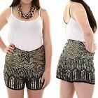 Women's High Waist Sequin Beaded Aztec Tribal Zig Zag Ladies Shorts Hot Pants