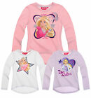 Girls Barbie T Shirt Kids Long Sleeve Top Pink Lilac White New Age 2 4 6 8 Years