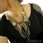 New Chic Women's Retro Punk Coins Leaves Tassels Chain Choker Statement Necklace