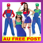 Womens Mens Kids Super Mario Luigi Brothers Plumber Mushroom Nintendo  Costume