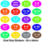 Coloured Baby & Childrens Clothes Size Stickers - Sticky Labels