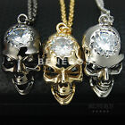 Small Glossy Skull Head CZ Pendant Necklace Mens Unisex Jewelry Gold SilverBlack