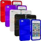 Color 2-Piece Swirl Hybrid Hard TPU Case Skin Cover Accessory for iPhone 4S 4G 4