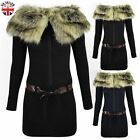 WOMENS LADIES KNITTED MINI JUMPER DRESS FAUX FUR COLLAR LONG TOP BELTED SWEATER