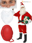 Mens Deluxe 10 Piece Complete Santa Suit  Costume Father Christmas Fancy Dress