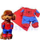 Pet Dog Cat Costume Clothes Apparel Spiderman Clothing with Cape Cosplay outfit