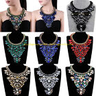 Vintage Handmade Multicolor Glass Black Cotton Statement Pendant Collar Necklace