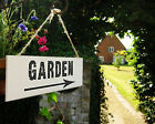 WOODEN GARDEN SIGN WITH ARROW - WALL PLAQUE HOME DECOR SHABBY CHIC