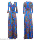 BRIGHT BLUE Beautiful MAXI DRESS Jersey Wrap LONG Skirt vtg BOHO Medallion S-M-L