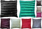 Shiny Cushion Cover Faux Fur Stripe Rib Effect Luxury Soft Good Quality 45x45 cm