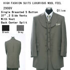 Men's  5 Buttons Jacket, Back Center Split, Double Vents With Collared Vest 2908