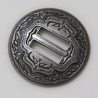 "【KBS01】1-1/4"" Slotted Concho 2-Tone Leathercraft Saddle Tack Belt Antique-Silver"