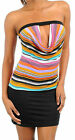 Sexy Club Multi Bright Colored Striped Drape Keyhole Strapless Tube Mini Dress M