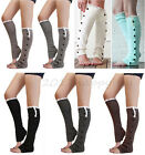 Ladys Crochet Knitted Lace Flat Button Trim Boot Cuffs Toppers Leg Warmers Socks