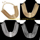 New Fashion Bohemia Tribal Multilayers Metal Layers Chain Statement Bib Necklace