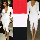 Sexy Fashion Women's Deep V Neck Long Sleeve Cotton Bodycon Club Party Dress