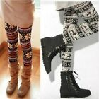 Women's Xmas Snowflake Reindeer Knitted Stretchy Winter Warm Leggings JU