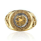 Size 8-12 Great Crafted 18k Gold Plated Men's Wedding Ring Men Lion Rings