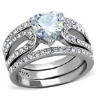 Stainless Steel Heart cz Wedding Engagement Promise Ring 3 PC Women's Band  Set
