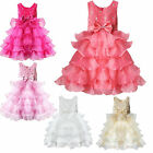 Girls Dresses Princess Pageant Wedding Bridesmaid Party Formal Bow 2-10Y Clothes