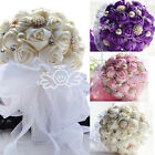 4 Colors Rose Wedding Bouquet White Lace Bridal Flowers Pearls Bow Crystal DIY