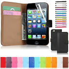 Luxury Genuine 100% Real Leather Flip Wallet Stand Case Cover For iPhone 5 5S