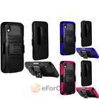 For HTC Desire 816 Hybrid Hard Soft Stand Cover Case w/ Belt Clip Holster