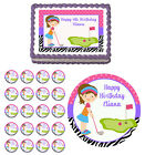 Golfing Girl Mini Golf Edible Birthday Cake Cupcake Toppers Party Decorations