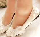 Sparkling Lace Flower Wedding Pearl Party Evening Flat Romantic shoes