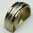 Hot Sale 316L Stainless Steel Double Spin Women Mens Frosted Gold Band Ring
